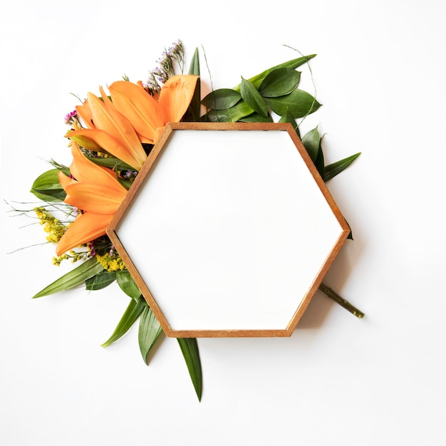 Hexagon frame on leaves and lilies Free Photo