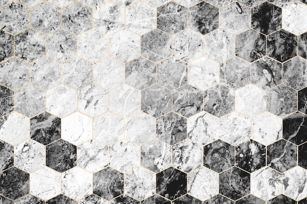 Hexagon gray marble tiles patterned Free Photo