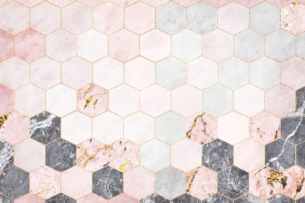 육각형 분홍색 대리석 타일 무늬 무료 사진