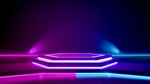 Hexagon stage and purple neon light Premium Photo