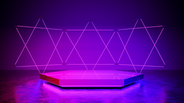 Hexagon stage with neon light, , abstract futuristic, ultraviolet concept, 3d render Premium Photo
