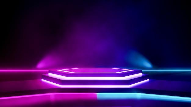 Hexagon stage with smoke and purple neon  light Premium Photo