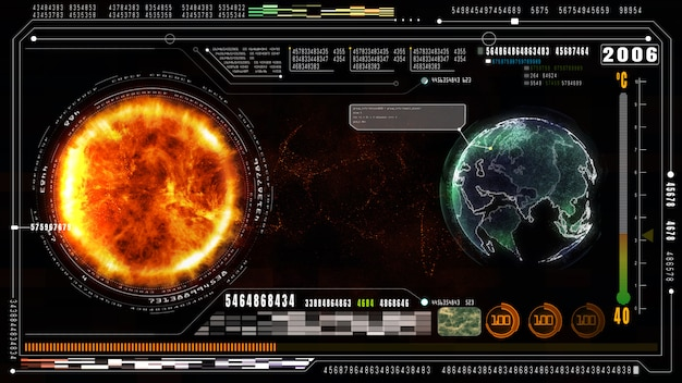 Hi-tech digital data and information background. global warming concept. earth element furnished by nasa Premium Photo