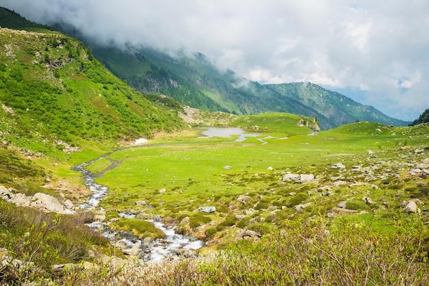 High altitude alpine lake with dramatic sky Premium Photo