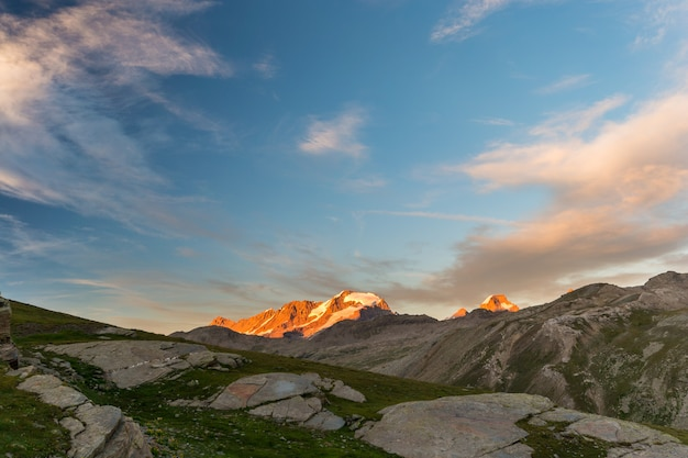 High altitude landscape, gran paradiso mountain range at sunset Premium Photo