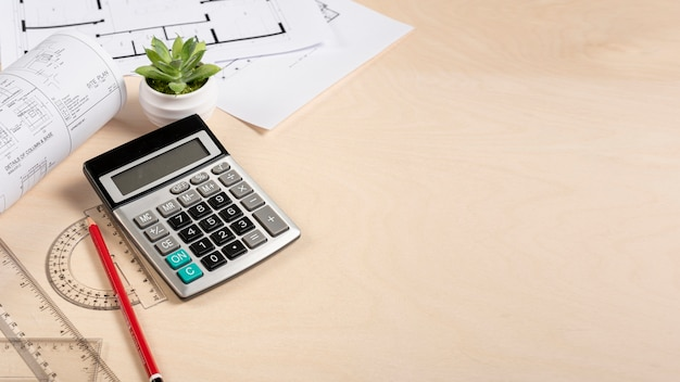 High angle architect desk with plans Free Photo