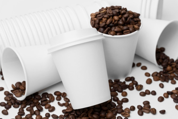 High angle arrangement with coffee beans Free Photo
