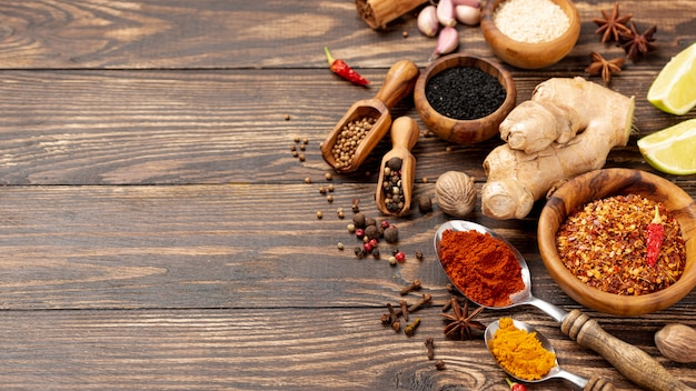 High angle asian food spices mix with copy space Free Photo