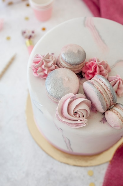 High angle of birthday cake concept Premium Photo