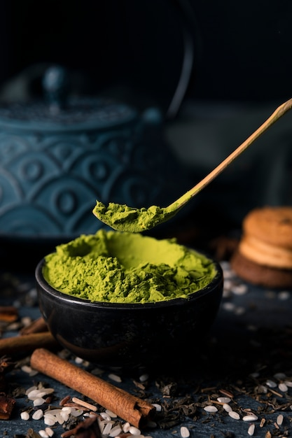High angle bowl with green asian matcha Free Photo