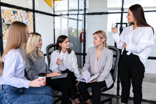High angle business meeting with females Free Photo