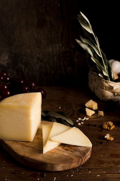 High angle cheese buffet on table Free Photo