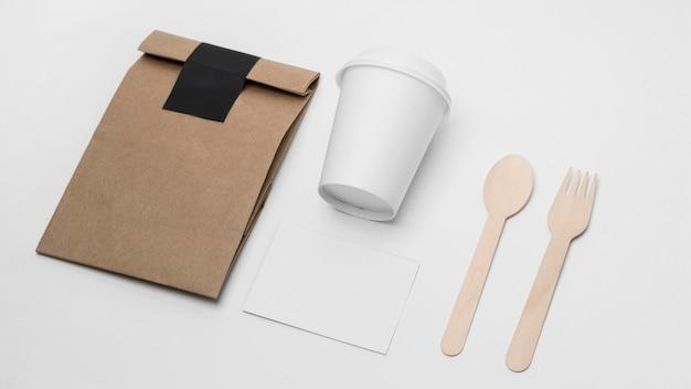 High angle coffee branding items Free Photo