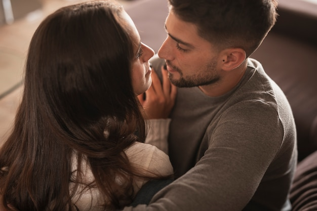 High angle couple looking at each other Premium Photo