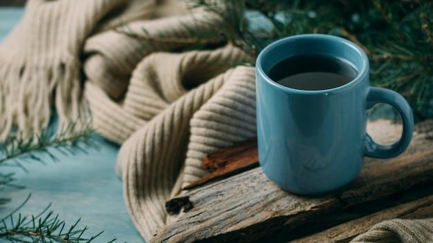 High angle cozy arrangement with scarf and mug Free Photo