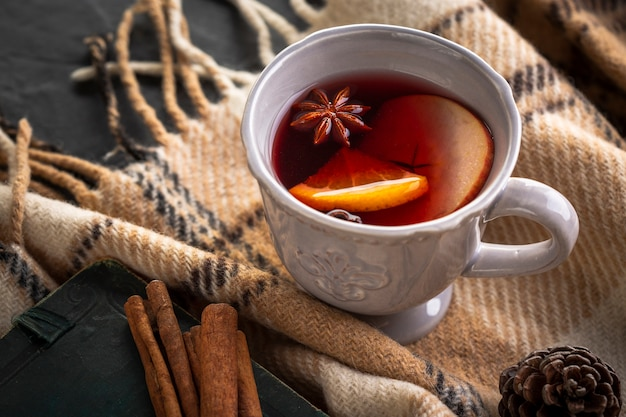 High angle cup with mulled wine and condiments Premium Photo