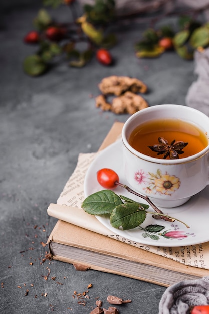 High angle cup with tea and star anise Premium Photo