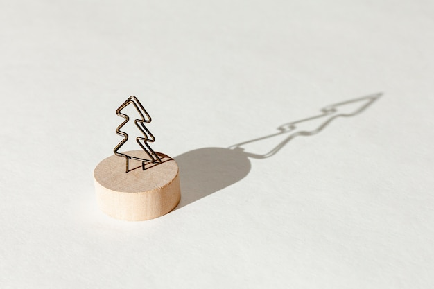 High angle decoration with fir tree and its shadow Free Photo