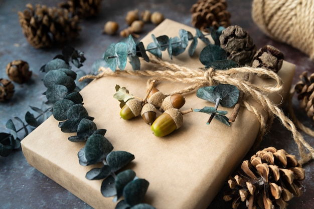 High angle decoration with present and acorns Free Photo