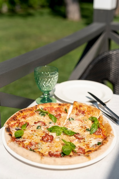 High Angle Of Delicious Italian Pizza On Table Photo Free