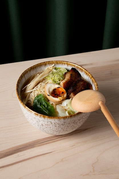 High angle of delicious ramen in bowl Free Photo