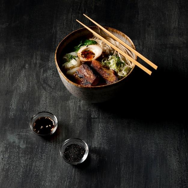 High angle of delicious ramen in bowl Premium Photo