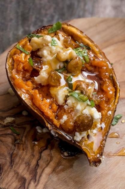 Высокий угол вкусный сладкий картофель Бесплатные Фотографии