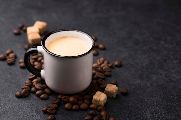 High angle glass of coffee Free Photo