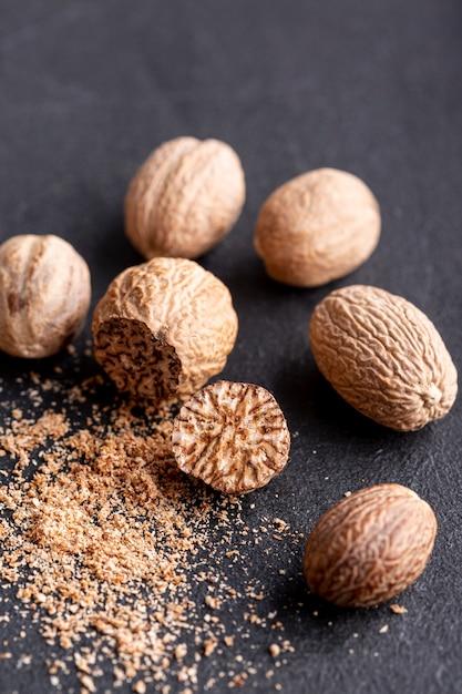 High angle of grounded nutmeg Free Photo