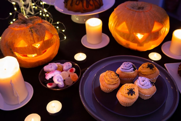 High angle of halloween sweet concept Premium Photo