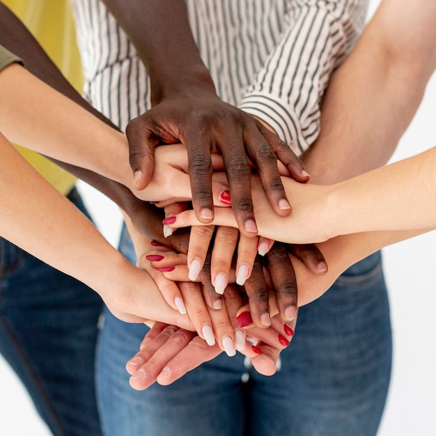 High angle hands stack with friends Free Photo