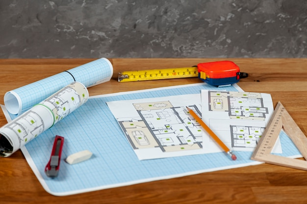 High angle house project on a table Free Photo