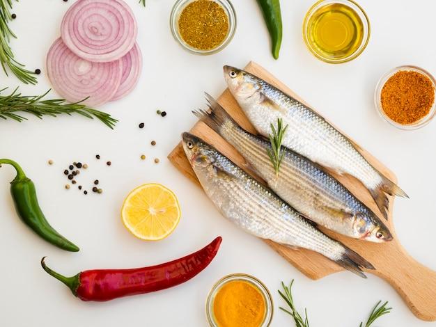 High angle mackerels with seasoning Free Photo