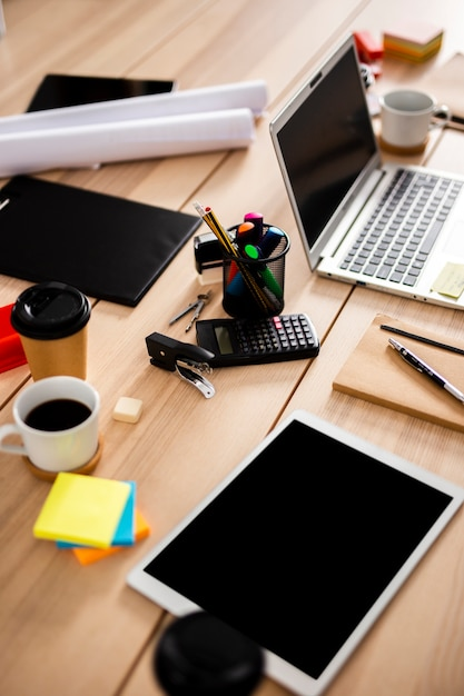 High angle modern devices at office Free Photo