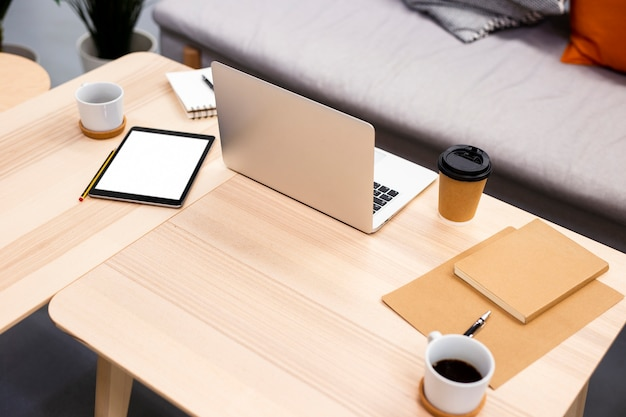High angle modern electronic devices at office Free Photo