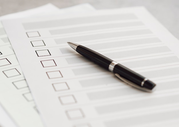 High angle multiple election questionnaires Free Photo
