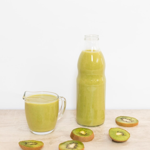 High angle natural kiwi smoothie Free Photo