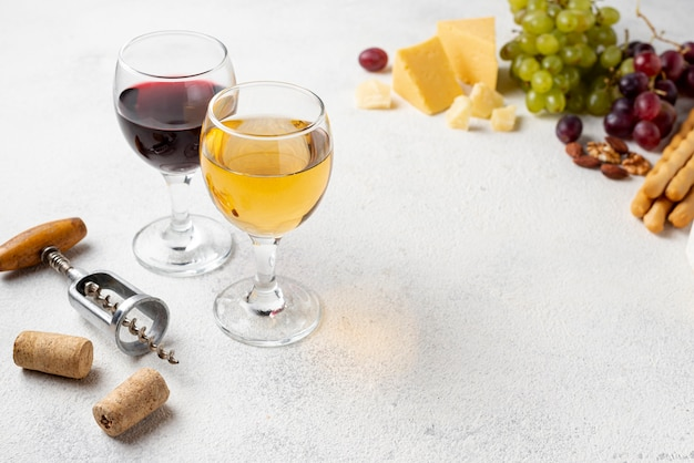 High angle natural wine for tasting Free Photo