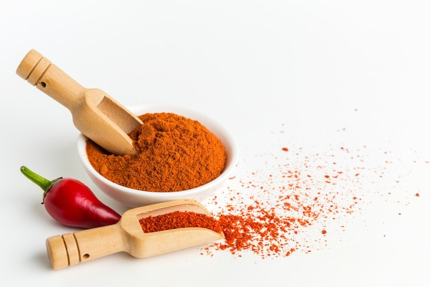 High angle pepper powder in bowl Free Photo