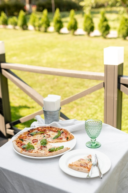 High Angle Of Pizza On Table Outside Photo Free Download