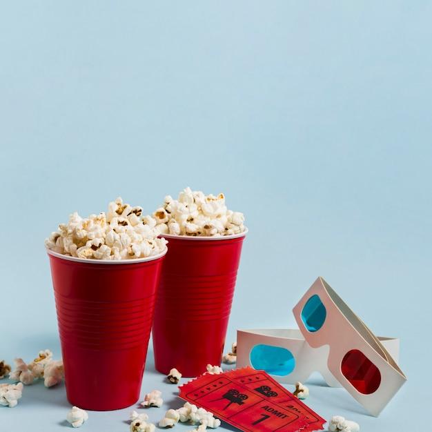 High angle popcorn and cinema tickets Premium Photo
