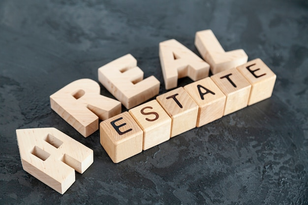 High angle real estate lettering Premium Photo