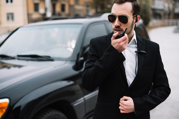High angle security guard with equipment Free Photo