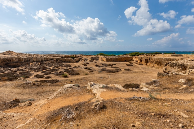 High angle shot of a beach under the cloudy sky in cyprus Free Photo