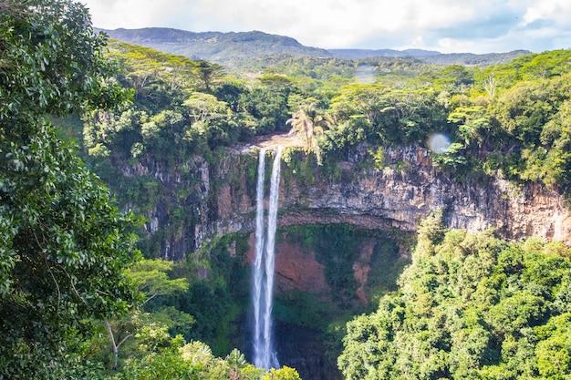 High angle shot of the beautiful chamarel waterfall in mauritius Free Photo