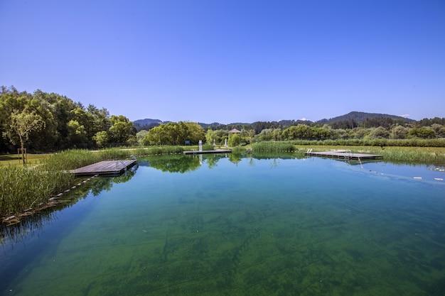Colpo di alto angolo di un lago di campagna in slovenia Foto Gratuite