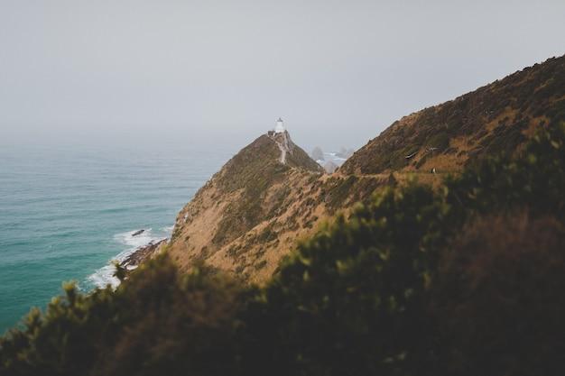 ニュージーランドの美しいナゲットポイント灯台アフリリのハイアングルショット 無料写真