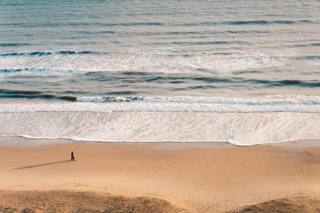 茶色の砂に対する美しい波状の海のハイアングルショット 無料写真