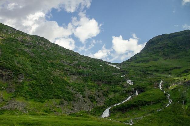 ノルウェーの高い緑豊かな山々の狭い溝のハイアングルショット 無料写真