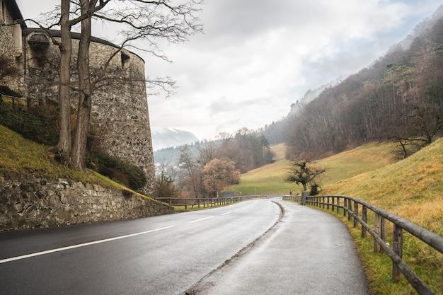 リヒテンシュタインのファドゥーツ城の横にある丘を下る道路のハイアングルショット 無料写真